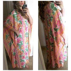 VTG 70s Mumu Kaftan Poncho Dress OS S M L